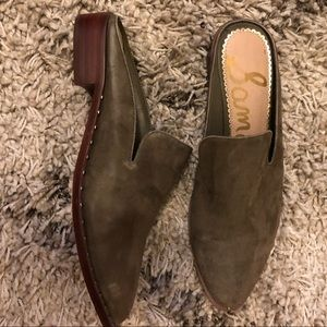 Hunter Green Suede Sam Edelman Mules